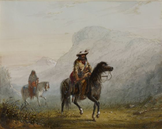 "Miller, Alfred Jacob: ""Bourgeois"" W---r, and His Squaw. Fine Art Print/Poster. Sizes: A4/A3/A2/A1 (003843)"